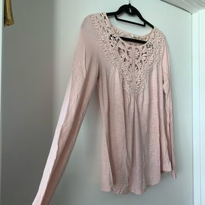 Anthropologie Tops - Anthropologie Pink Embroidered Long Sleeve
